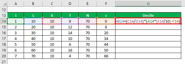 Decile Formula Example 2-3