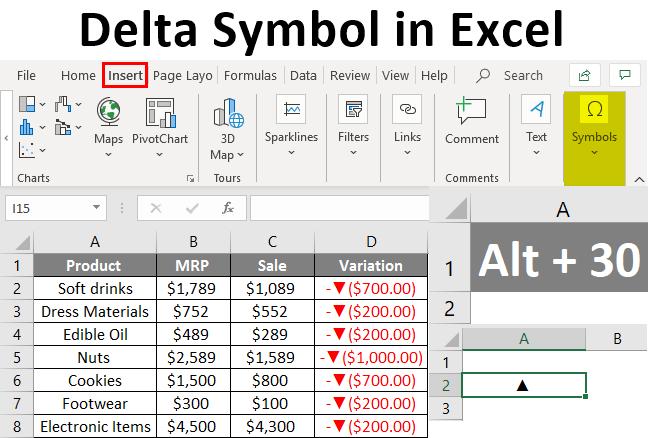 Delta Symbol in Excel