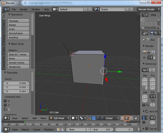 Extrude Blender Step 3.1