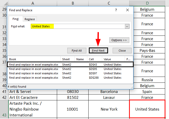 Find and Replace in excel 1-5