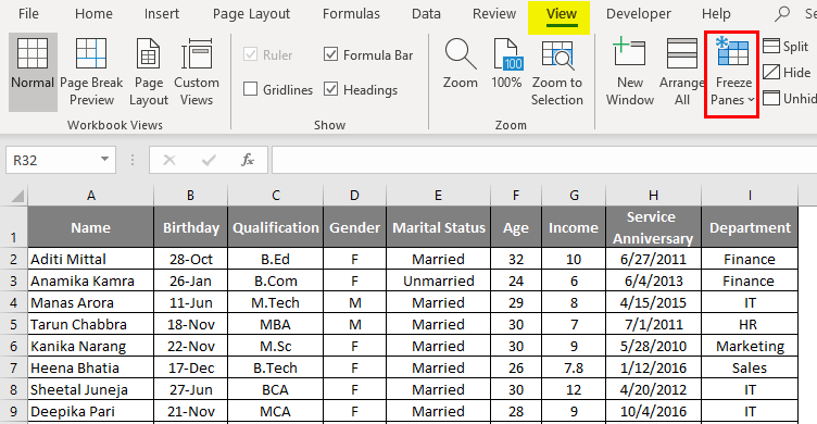 Freeze Columns in excel 1-6