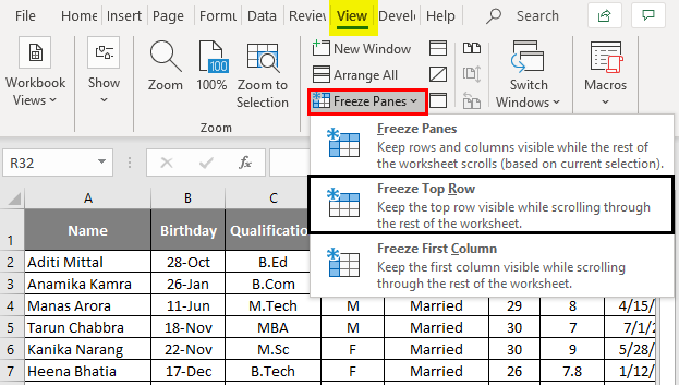 Freeze Columns in excel 1-7