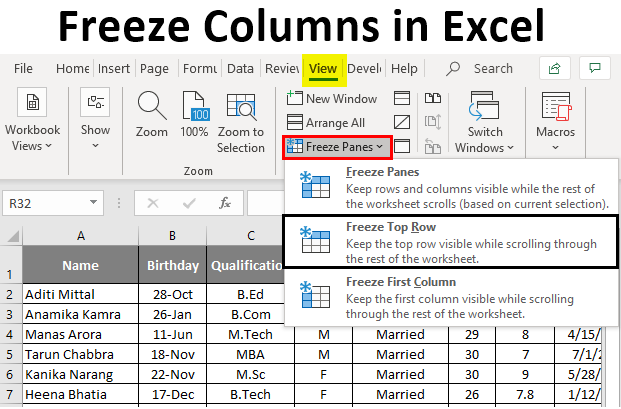 Freeze Columns in excel