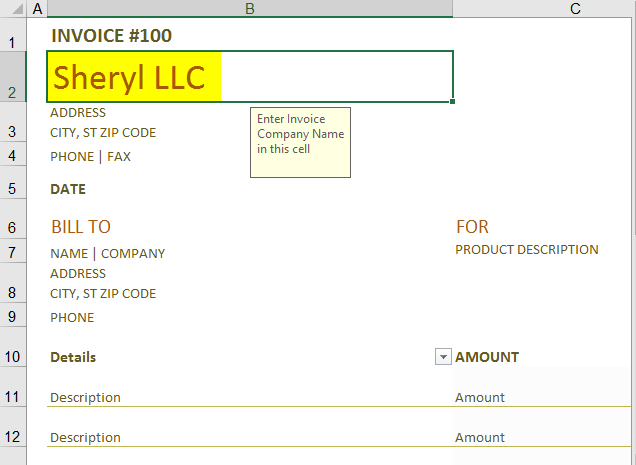 Invoice template in excel 1-6