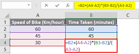 Linear interpolation in excel 1-2