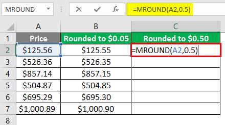 MROUND Function on Price 3-5