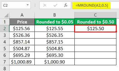 MROUND Function on Price 3-6