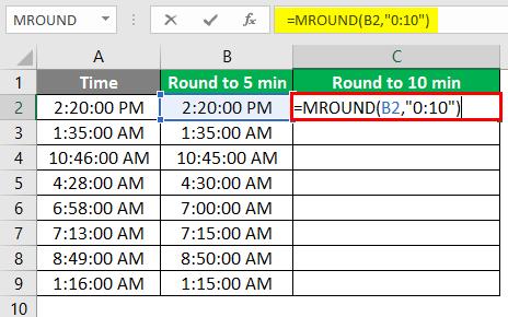 Round to 5 min - 2