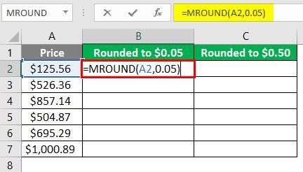 MROUND Function on Price 3-2