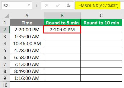 MROUND in excel 2-3
