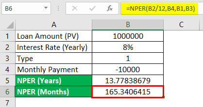 NPER function in Excel 2-5