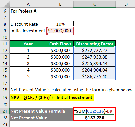 Net Present Value Formula Example 2-5