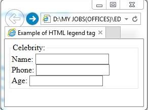 """""""<legend>"""" element output"""