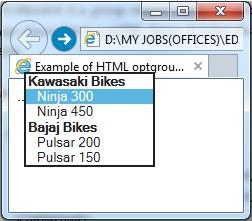 """<optgroup>"" element output"