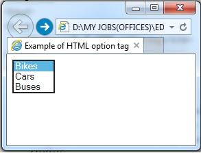 """<option>"" element output"