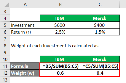 Weight of each investment Example 3-2