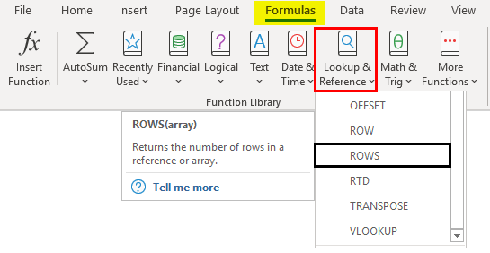 ROWS Function in Excel 1-1