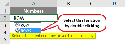 ROWS Function in Excel 1-2