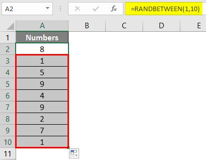 RANDBETWEEN in Excel 1-4