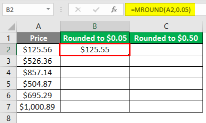 MROUND Function on Price 3-3