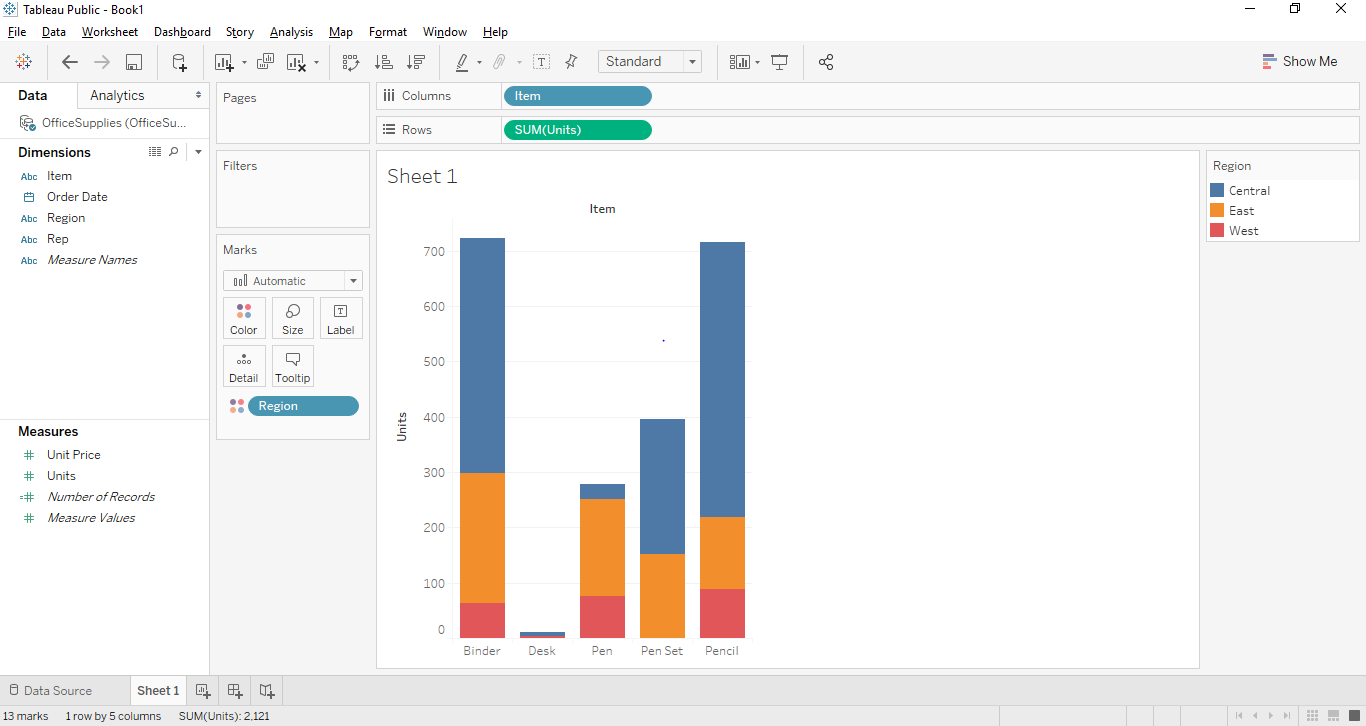 Stacked Bar Chart in Tableau 5