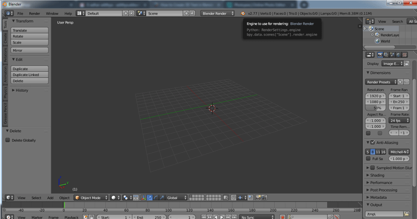 Step 2 (3d text in blender)