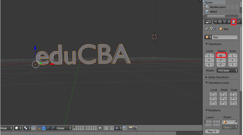 Step 5.1 (3d text in blender)