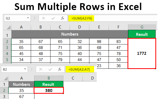 Sum multiple Rows in Excel