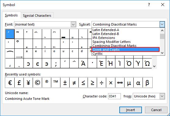 Delta Symbol in Excel 1.3