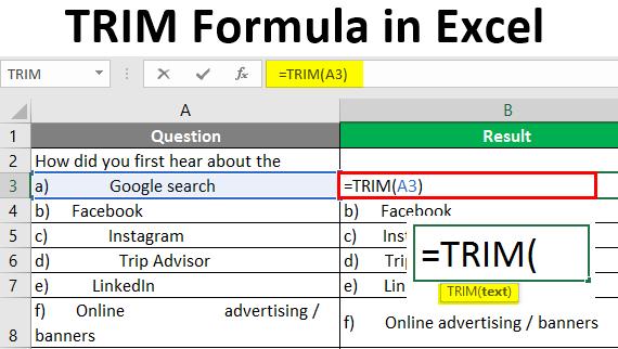 TRIM Formula in Excel
