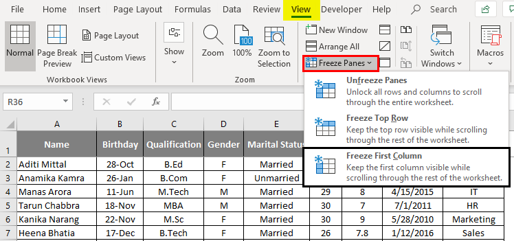 Top row excel 1