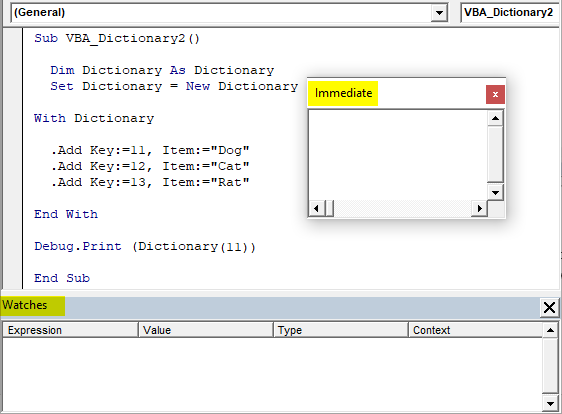 VBA Dictionary Example 1-13