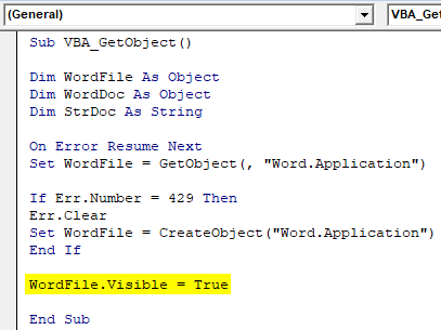 Object variable WordFile