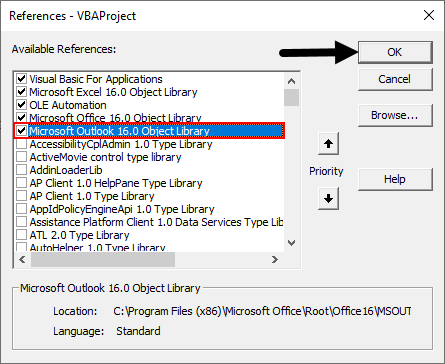 Microsoft Outlook Object library