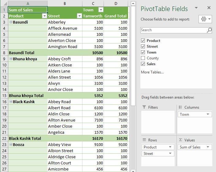 VBA Pivot Table Example 1-19
