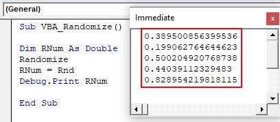 VBA Randomize Example 1-10