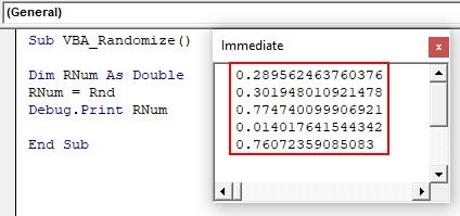 VBA Randomize Example 1-8