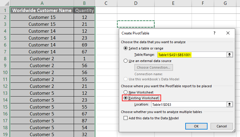 VBA Refresh Pivot Table Example 1.3