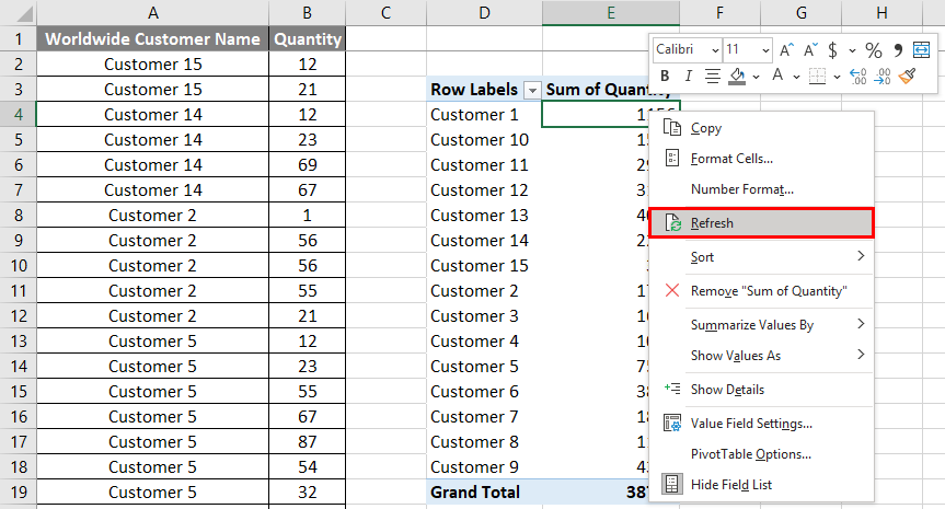 VBA Refresh Pivot Table Example 1.5