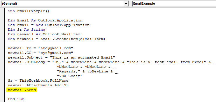 VBA Send Email From Excel 18