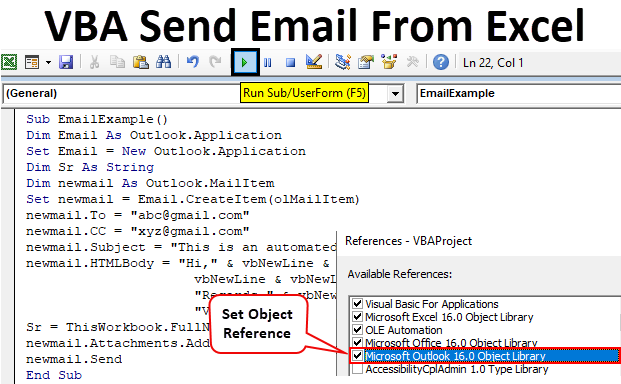 VBA Send Email From Excel