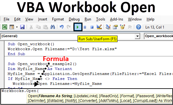 Vba Workbook Open Two Methods To Open Workbook In Excel Vba