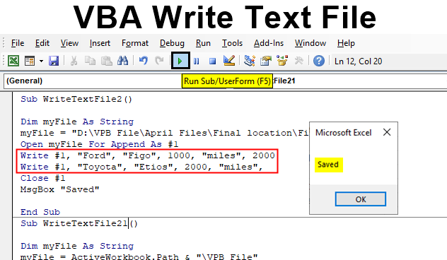VBA Write Text File