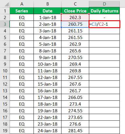 Calculation of Daily Returns