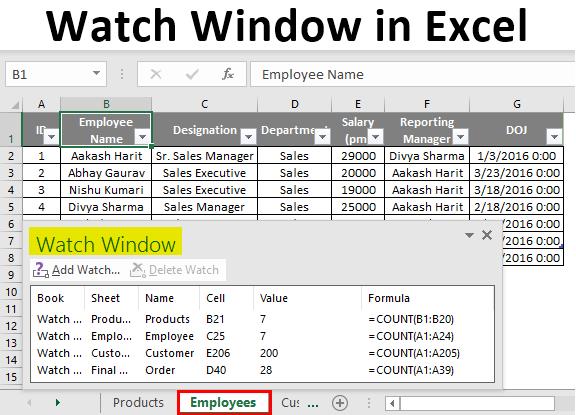 Watch Window in Excel
