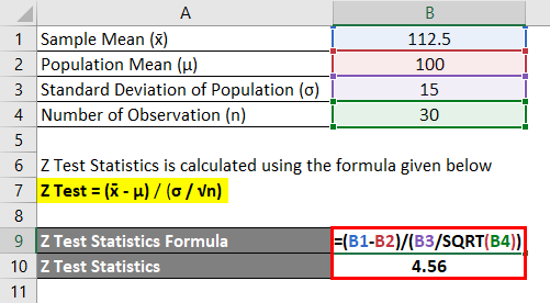 Z Test Statistics Formula Example 1-2