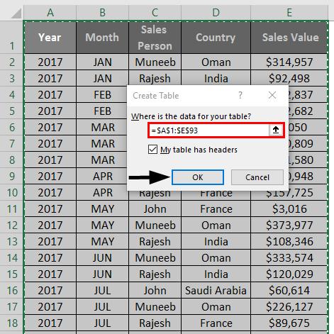 Slicer in Excel 1-3