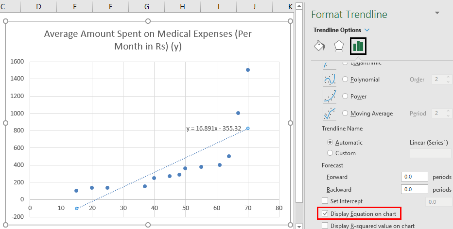 Linear Regression in Excel example 1-6