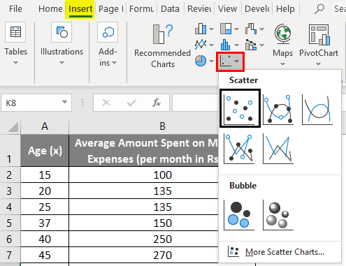 linear regression in excel example 1-3