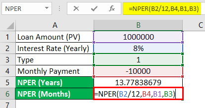 NPER function in Excel 2-4